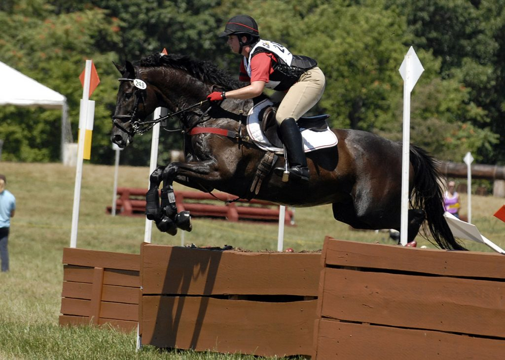 Lindsay Berreth Jumping a XC Fence on Oh So