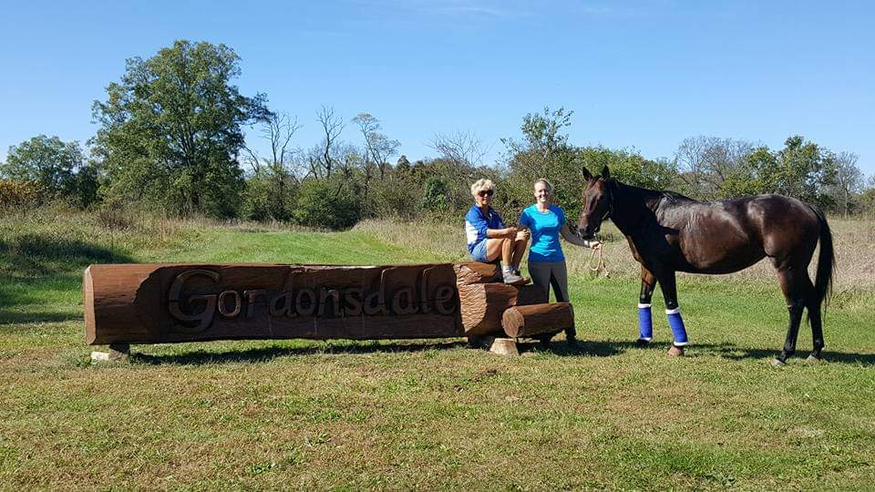 Lisa Reid with Kim at Gordonsdale Cross Country course
