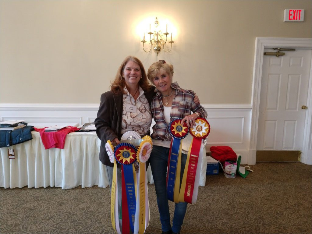 Lisa Reid and Suzy at CDCTA 2018 Year End Awards with ribbons and a trophy